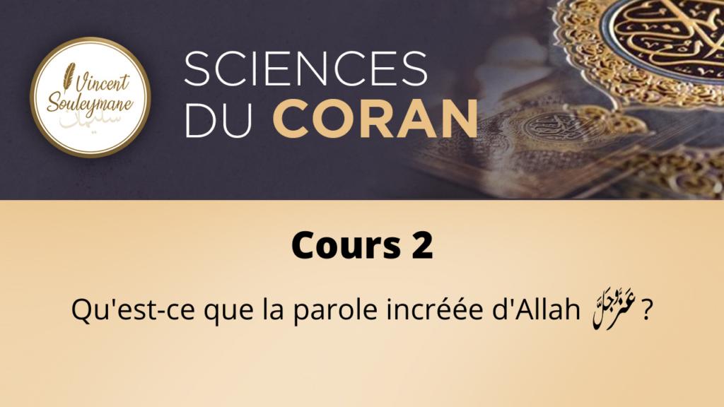 Sciences du coran – Cours 02